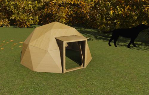 plan niche chien dome geodesique